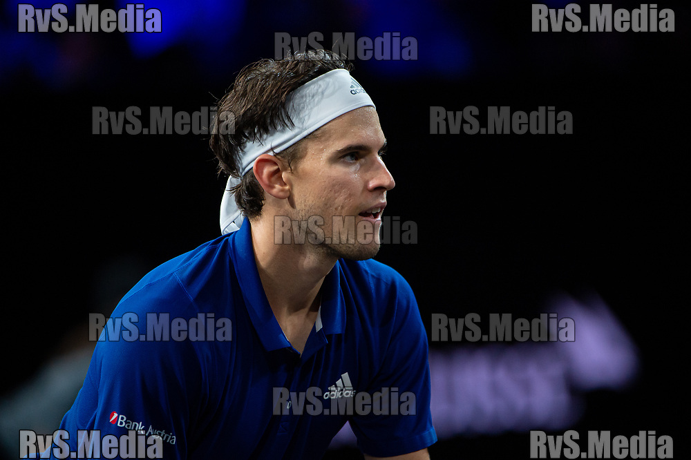 GENEVA, SWITZERLAND - SEPTEMBER 22: Dominic Thiem of Team Europe looks on during Day 3 of the Laver Cup 2019 at Palexpo on September 20, 2019 in Geneva, Switzerland. The Laver Cup will see six players from the rest of the World competing against their counterparts from Europe. Team World is captained by John McEnroe and Team Europe is captained by Bjorn Borg. The tournament runs from September 20-22. (Photo by Robert Hradil/RvS.Media)