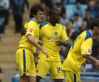 Photo: Ian Hebden.<br /> Coventry City v Cardiff City. Coca Cola Championship. 30/04/2006.<br /> Cardiffs Steven Thompson (L) is congragulated on scoring.