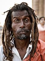 A holy man on the ghats in Varanasi, Uttar Pradesh, India