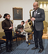 Photo by Mara Lavitt<br /> New Haven, CT<br /> March 11, 2017<br /> Jazz: A Celebration of American Sound at Yale's Schwarzman Center. GRAMMY award winning saxophonist and Yale School of Music lecturer in jazz, Wayne Escoffery, conducted a Jazz Improvisation Clinic.