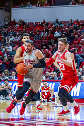 NORMAL, IL - February 26: Ricky Torres storms the paint defended by Ville Tahnanainen during a college basketball game between the ISU Redbirds and the Bradley Braves on February 26 2020 at Redbird Arena in Normal, IL. (Photo by Alan Look)