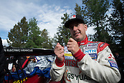 June 30, 2013 - Pikes Peak, Colorado.  Greg Tracy talks with team members after the 91st running of the Pikes Peak Hill Climb.