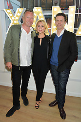 Left to right, MATT CLARK, ROBERTA MOORE daughter of West Ham United and England's legendary captain, Bobby Moore and MATT MOORE at a private view of an exhibition entitled 'All Shook Up' - by Natasha Archdale: A Retrospective held at 90 Piccadilly, London on 23rd April 2015.