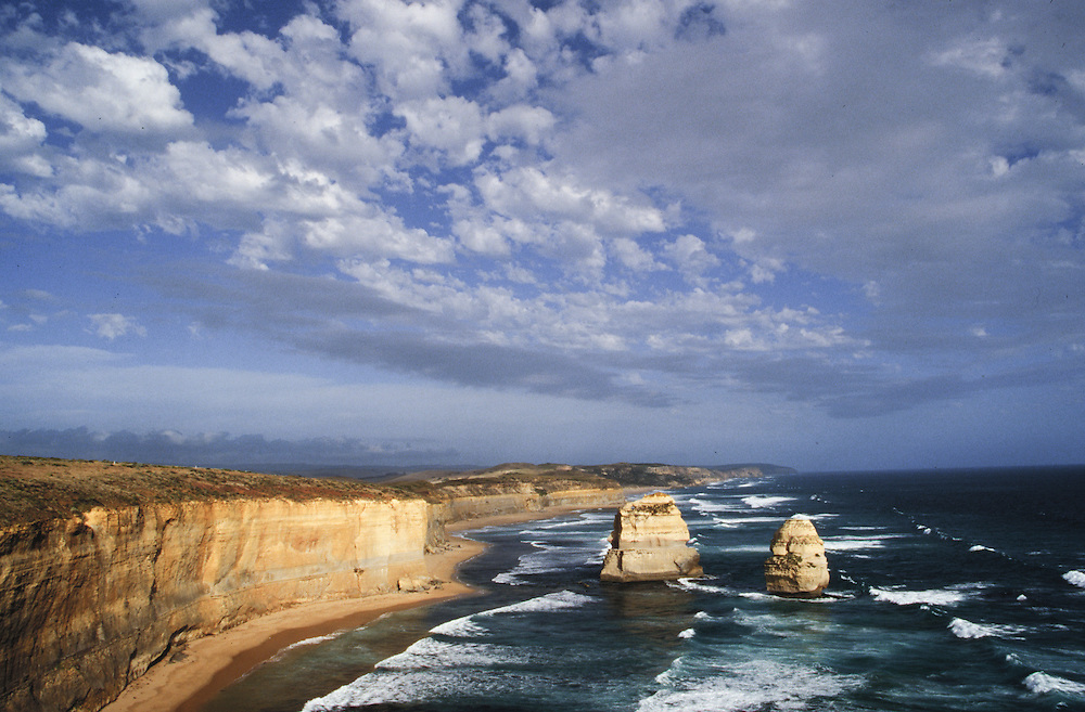 Australia, Victoria,  The Twelve Apostles, a collection of limestone stacks off the shore of the Port Campbell National Park , by the Great Ocean Road