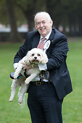 © Licensed to London News Pictures. 26/10/2017. LONDON, UK.  WAYNE DAVID MP and his dog, Alice at the Westminster Dog of the Year Competition held in Victoria Tower Gardens. The Westminster Dog of the Year Competition is organised jointly by the Kennel Club and the Dogs Trust..  Photo credit: Vickie Flores/LNP