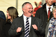 FA Chairman Greg Clarke doing a little dance in the stands before the FIFA Women's World Cup UEFA Qualifier match between England Ladies and Wales Women at the St Mary's Stadium, Southampton, England on 6 April 2018. Picture by Graham Hunt.