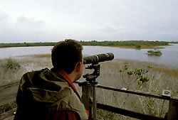 FL: Florida Everglades National Park,.Birders, birdwatching at Briggs Center, model released..Photo Copyright: Lee Foster, lee@fostertravel.com, www.fostertravel.com, (510) 549-2202.Image: flever235