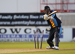 A Carter of Derbyshire Falcons is bowled out by HF Gurney of Notts Outlaws (Not Pictured) - Mandatory by-line: Jack Phillips/JMP - 24/06/2016 - CRICKET - The 3aaa County Ground - Derby, United Kingdom - Derbyshire Falcons v Notts Outlaws - Natwest T20 Blast