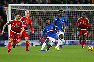 Beni Baningime of Everton (c) passes the ball back. Premier league match, Everton vs Watford at Goodison Park in Liverpool, Merseyside on Sunday 5th November 2017.<br /> pic by Chris Stading, Andrew Orchard sports photography.