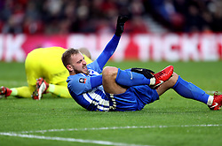 Brighton & Hove Albion's Jiri Skalak and Middlesbrough goalkeeper Darren Randolph collide during the Emirates FA Cup, fourth round match at the Riverside Stadium, Middlesbrough.