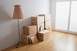 Stack of cardboard boxes in a room, Bavaria, Germany