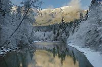 Nooksack River in winter North Cascades Washington
