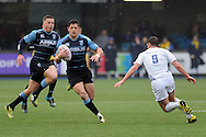 Cardiff Blues Lloyd Williams (c) goes on a run. Guinness Pro12 rugby match, Cardiff Blues v Leinster Rugby at the Cardiff Arms Park in Cardiff, South Wales on Saturday 20th Feb 2016.<br /> pic by Carl Robertson, Andrew Orchard sports photography.