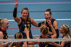 Lisa Harmsen #12 of Utrecht, Bianca Gommans #11 of Utrecht, Laure Snijders #8 of Utrecht in action in the first Topdivision match between Booleans/ VV Utrecht - SOMAS/Activia on September 19, 2020 in Utrecht.