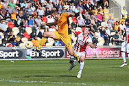 Jon Parkin of Newport county © shoots and scores his teams 2ND goal to equalise at 2-2. EFL Skybet football league two match, Newport county v Cheltenham Town at Rodney Parade in Newport, South Wales on Saturday 10th September 2016.<br /> pic by Andrew Orchard, Andrew Orchard sports photography.