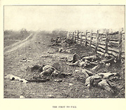 This photograph was taken back of the rail fence on the Hagerstown pike, where Stonewall Jackson's men attempted to rally in the face of Hooker s ferocious charge that opened the bloodiest day of the Civil War September 17, 1862. from the book ' The Civil war through the camera ' hundreds of vivid photographs actually taken in Civil war times, sixteen reproductions in color of famous war paintings. The new text history by Henry W. Elson. A. complete illustrated history of the Civil war