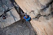 "Steven Reid Curtis leading ""Andromeda,"" a 5.10d crack climb at Chipmunk Flat, Sonora Pass, California"