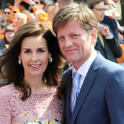 Koningsdag 2014 in Amstelveen, het vieren van de verjaardag van de koning. / Kingsday 2014 in Amstelveen, celebrating the birthday of the King. <br /> <br /> <br /> Op de foto / On the photo:  Prins Pieter-Christiaan and Prinses Anita  / Prince Pieter-Christiaan and Princess Anita