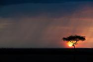 Sunset behind a rain cloud, Kenya conservation area north of Masai Mara.