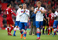 Stoke City's Xherdan Shaqiri (left) and Moritz Bauer applaud the fans at the end of the match