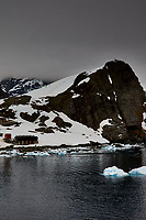 Panorama of Paradise Harbor and Brown Station (Estación Científica Almirante Brown) in Antarctica from the Deck of the Hurtigruten MS Fram. (15 of 16) Image taken with a Fuji X-T1 camera and Zeiss 32 mm f/1.8 lens (ISO 200, 32 mm, f/16, 1/500 sec). Raw images processed with Capture One Pro, Focus Magic, Photoshop CC 2015, and AutoPano Giga Pro