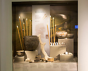 Display of objects found deposited at Neolithic meeting places and monuments in Wiltshire.  With permission of Wiltshire Museum, Devizes, England, UK