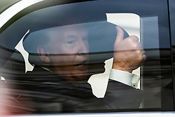 The US President Donald Trump's motorcade leaves Westminster Abbey where the President, accompanied by his wife Melania Prince Andrew The Duke of York laid a wreath at the Tomb of the Unknown Soldier ahead of the June 6th D-Day 75th anniversary commemorations. London, June 03 2019.