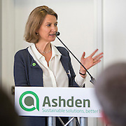 Sarah Butler-Sloss, Founder and Director of Ashden with closing remarks at the 2015 Ashden International Conference. The Business of Energy: Enterprising Solutions to the Energy Access Challenge. Kings Cross, London, UK. All image use must be credited. © Andrew Aitchison / Ashden