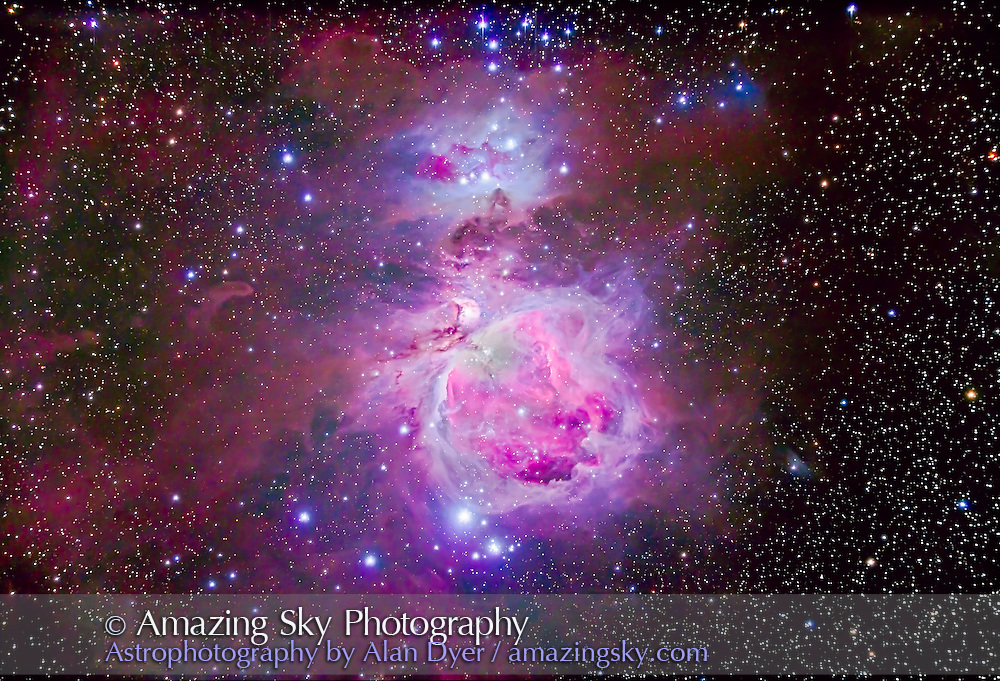 The Orion Nebula complex consisting of M42, M43 and the reflection nebula area known as the Running Man Nebula, NGC 1973-5-7. NGC 1981 is the blue star cluster at top north edge. North is up, though in the sky from Australia where this was shot the object appeared upside down compared to this northern-centric view...This is a 3-exposure stack to preserve details in the bright core while bringing out the faint outlying parts. It is a stack of 4 x 1 minute + 4 x 5 minutes + 4 x 15 minutes, all at ISO 400 with the Canon 5D MkII (filter-modified) and Astro-Physics Traveler 105mm apo refractor at f/5.8 with the 6x7 field flattener. Images were aligned and masked in Photoshop CS6 using Refine Mask. An HDR stack did not work and produced odd artifacts. Images had to be manally stacked and masked. Shot from Timor Cottage, Coonabarabran, Australia, December 12/13, 2012.