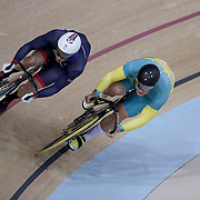 Track Cycling - Olympics: Day 8  Jason Kenny #101 of Great Britain and Patrick Constable #71 of Australia in action during the Men's Sprint Quarterfinals during the track cycling competition at the Rio Olympic Velodrome August 12, 2016 in Rio de Janeiro, Brazil. (Photo by Tim Clayton/Corbis via Getty Images)
