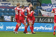 GOAL 1-1 Accrington Stanley defender Ross Sykes (5) during the EFL Sky Bet League 1 match between AFC Wimbledon and Accrington Stanley at the Kiyan Prince Foundation Stadium, London, England on 3 October 2020.