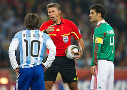 Lionel Messi of Argentina, Referee Roberto Rosetti of Italy and Rafael Marquez of Mexico during the 2010 FIFA World Cup South Africa Round of Sixteen match between Argentina and Mexico at Soccer City Stadium on June 27, 2010 in Johannesburg, South Africa. Argentina defeated Mexico 3-1 and qualified for quarterfinals. (Photo by Vid Ponikvar / Sportida)