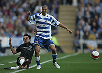 Photo: Lee Earle.<br /> Reading v Chelsea. The Barclays Premiership. 14/10/2006. Reading's James Harper (R) gets the better of Paulo Ferreira.