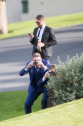 Keith Duffy with camera and Brian McFadden (behind). . Ronan Keating wedding to Storm Uechtritz at Archerfield today.