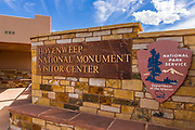 Visitor Center sign, Hovenweep National Monument, Utah USA