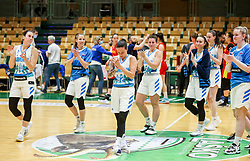 Players of Slovenia celebrate after winning during friendly basketball match between Women National Teams of Slovenia and Montenegro, on May 21, 2021 in Arena Tri Lilije, Lasko, Slovenia. Photo by Vid Ponikvar / Sportida