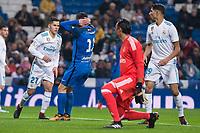 Real Madrid Alvaro Tejero, Achraf Hakimi and Kaylor Navas and Fuenlabrada Hugo Fraile during return match of King's Cup between Real Madrid and Fuenlabrada at Santiago Burnabeu Stadium in Madrid, Spain. November 28, 2017. (ALTERPHOTOS/Borja B.Hojas)