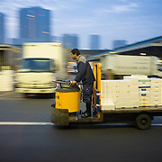 Transporting fish by turret truck at Tsukiji Fish Market in Tokyo.