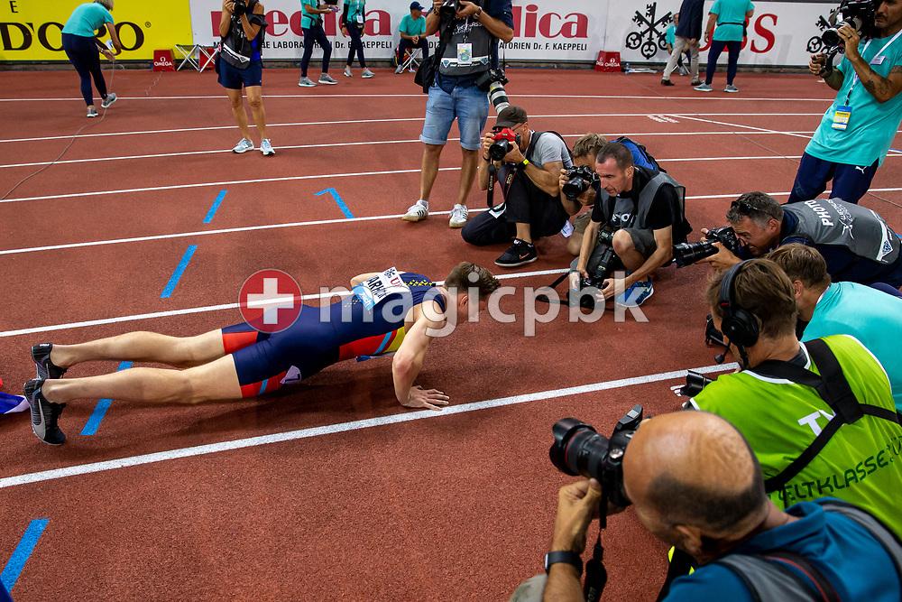Karsten WARHOLM of Norway celebrates after competing in the Men's 400m Hurdles during the Iaaf Diamond League meeting (Weltklasse Zuerich) at the Letzigrund Stadium in Zurich, Switzerland, Thursday, Aug. 29, 2019. (Photo by Patrick B. Kraemer / MAGICPBK)