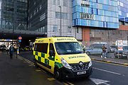 Ambulances waiting outside the Royal London Hospital in Whitechapel, which has become one of the main hospitals in London dealing with Covid-19 patients at the heart of the NHS battle against the pandemic as the national coronavirus lockdown three continues on 29th January 2021 in London, United Kingdom. It has been reported that queues of ambulances have been sees at many hospitals which are struggling to find beds due to the numbers of patients being brought in, with some patients being cared for in ambulances while they wait.