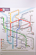 Metro route map, Lyon, France (UNESCO World Heritage Site)