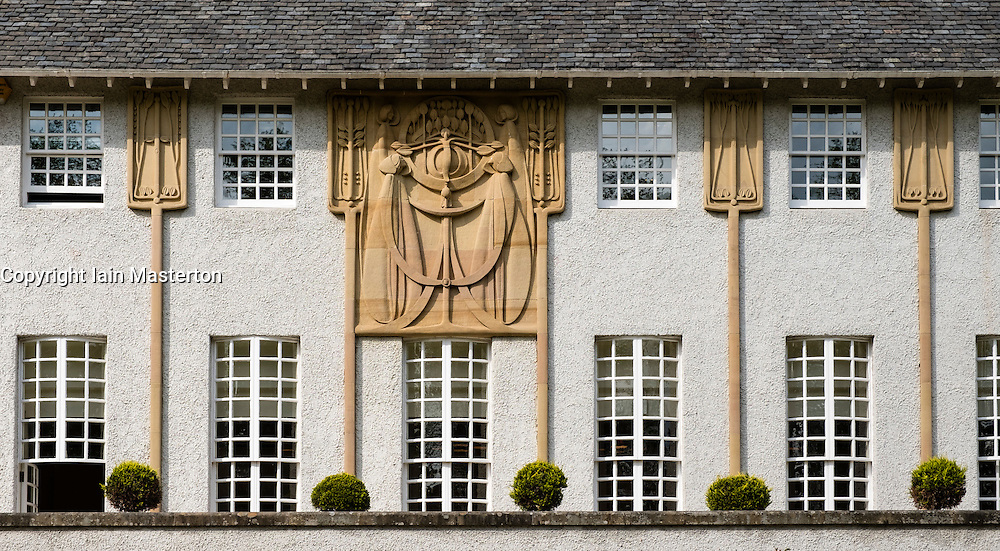 Detail from facade at House for an Art Lover by Charles Rennie Mackintosh in Bellahouston Park Glasgow , United Kingdom