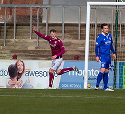 06MAR21 Arbroath's Jack Hamilton (19) cele scoring their first goal. half time : Arbroath 2 v 3 Queen of the South, Scottish Championship played 6/3/2021 at Arbroath's home ground, Gayfield Park.