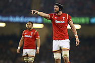 Luke Charteris of Wales  looks on. .RBS Six nations championship 2016, Wales v Scotland at the Principality Stadium in Cardiff, South Wales on Saturday 13th February 2016. <br /> pic by  Andrew Orchard, Andrew Orchard sports photography.