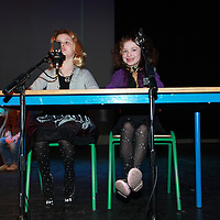 Enya Ghilardi and Holly Alderson reading the 9 O' Clock News during Barefield National Schools rehearsals for their Spring Concert in Glor on Thursday morning.<br /> Photograph by Yvonne Vaughan
