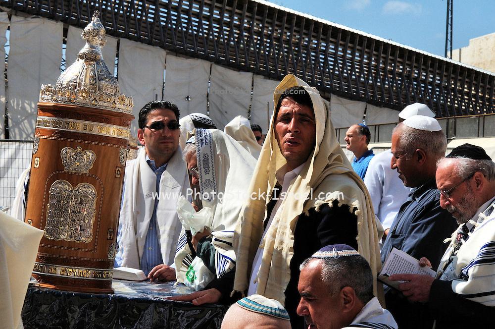 Israel, Old City of Jerusalem, Orthodox Jew deep in prayer at the Wailing Wall