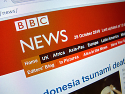 Detail of BBC News television channel website homepage screen shot