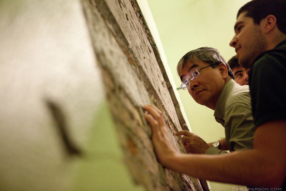 Researchers led by Dr. Benson Shing, Vice Chair of the Department of Structural Engineering at the University of California, San Diego, inspected the earthquake damage in Mexicali, Mexico, April 7, 2010. A 7.2 magnitude earthquake in Baja California on Easter Sunday was felt as far away as Los Angeles.