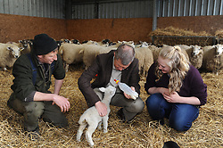Willie Rennie, Kelty, 21-4-2017<br /> <br /> Willie Rennie feeds a new lamb with Stuart McDougall of Mill House and Lauren Jones who is standing in the elections<br /> <br /> (c) David Wardle | Edinburgh Elite media