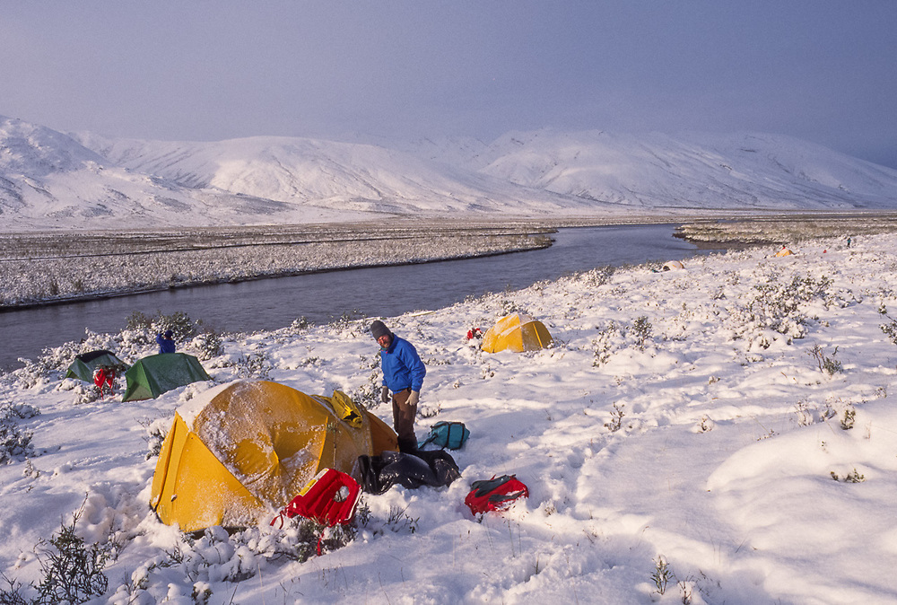 Dave Wukasch, Noatak River wilderness campsite, after a late August snowstorm, Gates of the Arctic National Park, AK, USA